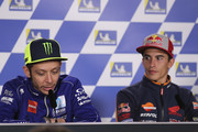 Valentino Rossi of Italy and Movistar Yamaha MotoGP  speaks and Marc Marquez of Spain and Repsol Honda Team (R) looks on during the press conference during the MotoGP of Australia - Previews during previews ahead of the 2018 MotoGP of Australia at Phillip Island Grand Prix Circuit on October 25, 2018 in Phillip Island, Australia.