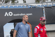 Francois Vogelsberger of Australia (Head Coach) and Andrea Dovizioso of Italy and Ducati Team  (R) arrive during the MotoGP of Australia - Previews during a media call ahead of the 2018 MotoGP of Australia at  on October 24, 2018 in Melbourne, Australia.