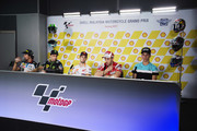 (L-R) Franco Morbidelli of Italy and EG 00 Marc VDS, Johann Zarco of France and Monster Yamaha Tech 3, Dani Pedrosa of Spain and Repsol Honda Team and Andrea Dovizioso of Italy and Ducati Team and Joan Mir of Spain and Leopard Racing look on during the press conference  at the end of the MotoGP qualifying practice during the MotoGP Of Malaysia - Qualifying at Sepang Circuit on October 28, 2017 in Kuala Lumpur, Malaysia.