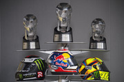 (L-R) The three helmets of the MotoGP riders on the podium Jorge Lorenzo of Spain and Movistar Yamaha MotoGP, Dani Pedrosa of Spain and Repsol Honda Team and Valentino Rossi of Italy and Movistar Yamaha MotoGP  during the press conference at the end of the MotoGP race during the MotoGP Of Malaysia at Sepang Circuit on October 25, 2015 in Kuala Lumpur, Malaysia.