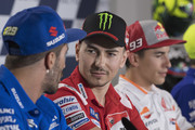 Jorge Lorenzo of Spain and Ducati Team looks on during the press conference pre-event during the  MotoGP of San Marino - Previews at Misano World Circuit on September 6, 2018 in Misano Adriatico, Italy.