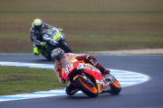 Marc Marquez of Spain and Repsol Honda Team leads Valentino Rossi of Italy and Movistar Yamaha MotoGP during the 2016 MotoGP Test Day at Phillip Island Grand Prix Circuit on February 17, 2016 in Phillip Island, Australia.