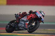Jorge Lorenzo of Spain and Ducati Team heads down a straight during the MotoGP of Aragon - Free Practice at Motorland Aragon Circuit on September 21, 2018 in Alcaniz, Spain.