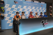 (L-R)  Pol Espargaro of Spain and Red Bull KTM Factory Racing,  Cal Crutchlow of Great Britain and LCR Honda, Andrea Dovizioso of Italy and Ducati Team, Marc Marquez of Spain and Repsol Honda Team, Maverick Vinales of Spain and  Movistar Yamaha MotoGP and  Alex Rins of Spain and Team Suzuki ECSTAR look on during the press conference pre-event during the MotoGP of Aragon - Previews  at Motorland Aragon Circuit on September 20, 2018 in Alcaniz, Spain.