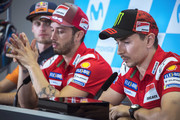 Jorge Lorenzo of Spain and Ducati Team (R) speaks during the press conference at the end of the qualifying practice during the MotoGP of Aragon - Qualifying at Motorland Aragon Circuit on September 22, 2018 in Alcaniz, Spain.
