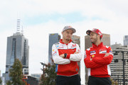 Jack Miller of Australia and Alma Pramac Racing and Andrea Dovizioso of Italy and Ducati Team pose during a media call ahead of the 2018 MotoGP of Australia at Melbourne Park on October 24, 2018 in Melbourne, Australia.