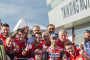 Andrea Dovizioso of Italy and Ducati Team celebrates the MotoGP pole position at the end of the qualifying practice during the MotoGP of Japan - Qualifying at Twin Ring Motegi on October 20, 2018 in Motegi, Japan.