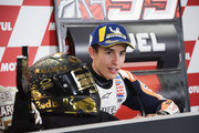Marc Marquez of Spain and Repsol Honda Team celebrates the MotoGP victory and become the 2018 MotoGP champ (Seven title) and speaks during the press conference at the end of the MotoGP race during the MotoGP of Japan - Race at Twin Ring Motegi on October 21, 2018 in Motegi, Japan.