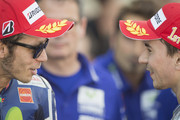 Valentino Rossi of Italy and Movistar Yamaha MotoGP speaks with  Jorge Lorenzo of Spain and Movistar Yamaha MotoGP (R) at the end of the MotoGP race during the MotoGP of Spain - Race at Motorland Aragon Circuit on September 27, 2015 in Alcaniz, Spain.