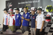 (L-R)  Karel Abraham of Czech Rep. and AB Motoracing, Andrea Dovizioso of Italy and Ducati Team, Jorge Lorenzo of Spain and Movistar Yamaha MotoGP, Valentino Rossi of Italy and Movistar Yamaha MotoGP,  Marc Marquez of Spain and Repsol Honda Team and  Cal Crutchlow of Great Britain and CWM LCR Honda pose during the press conference pre-event during the MotoGp of Czech Republic - Previews at Brno Circuit on August 13, 2015 in Brno, Czech Republic.
