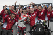 Jorge Lorenzo of Spain and Ducati Team  celebrates with team the MotoGP pole position at the end of the qualfying practice during the MotoGp Of Great Britain - Qualifying at Silverstone Circuit on August 25, 2018 in Northampton, England.