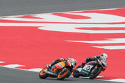 Pol Espargaro of Spain and Pons 40 HP Tuenti. leads Marc Marquez of Spain and Team Catalunya Caixa Repsol   during the Moto2 race of the MotoGp Of Catalunya at Circuit de Catalunya on June 3, 2012 in Montmelo, Spain.