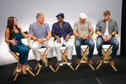 (L-R) TV personality Camille Ford, actors Dolph Lundgren, Wesley Snipes, Randy Couture and Kellan Lutz attend 'The Expendables 3' Movies on Demand Interview session at Hard Rock Hotel San Diego on July 24, 2014 in San Diego, California.