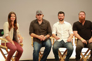 (L-R) Host Camille Ford, Writer/actor/director Bobby Roe, actors Zack Andrews and Mikey Roe attend Movies On Demand 'The Houses October Built' Interviews during Comic-Con 2014 at Hard Rock Hotel San Diego on July 25, 2014 in San Diego, California.