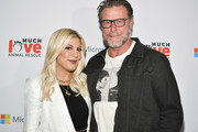 Tori Spelling (L) and Dean McDermott attend the Much Love Animal Rescue 3rd Annual Spoken Woof Benefit at Microsoft Lounge on October 17, 2019 in Culver City, California.