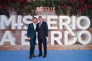 Luis Gerardo Mendez and Adam Sandler pose on the red carpet before 'Murder Mystery' premiere at Antara Polanco Fashion Hall on June 12, 2019 in Mexico City, Mexico.