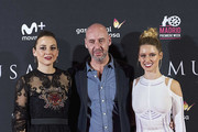 Spanish actresses Leonor Watling (L), Manuela Velles (R) and director Jaume Balaguero (C) attend the 'Musa' premiere at the Callao cinema on November 6, 2017 in Madrid, Spain.