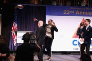 (L-R) Russ Salzberg, Rashad Jennings, Hakeem Nicks, and Harry Santa-Olalla onstage during the Muscular Dystrophy Association Celebrates 22 Years Of Annual New York Muscle Team Gala With MVP Derek Jeter And More on December 3, 2018 in New York City.