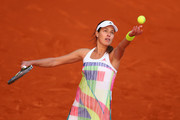 Ana Ivanovic of Serbia in action against Katerina Siniakova of Czech Republic during day two of the Mutua Madrid Open tennis tournament at the Caja Magica on May 01, 2016 in Madrid, Spain.