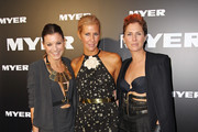 Sarah-Jane Clarke and Heidi Middleton of Sass & Bide arrive at the Myer A/W 2012 Collection Launch on March 1, 2012 in Melbourne, Australia.