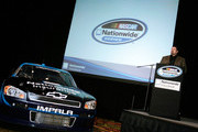 NASCAR Nationwide Series Director Joe Balash speaks with the media during the NASCAR Sprint Media Tour hosted by Charlotte Motor Speedway, held at the Embassy Suites, on January 20, 2010 in Concord, North Carolina.