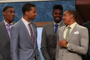 (L-R) Otto Porter of Georgetown, Michael Carter-Williams of Syracuse, Nerlens Noel of Kentucky and C.J. McCollum of Lehigh share a laugh on stage prior to the start of the 2013 NBA Draft at Barclays Center on June 27, 2013 in in the Brooklyn Bourough of New York City.  NOTE TO USER: User expressly acknowledges and agrees that, by downloading and/or using this Photograph, user is consenting to the terms and conditions of the Getty Images License Agreement.