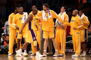 Kobe Bryant #24 of the Los Angeles Lakers reacts in the second half with Pau Gasol #16 in Game Six of the 2010 NBA Finals against the Boston Celtics at Staples Center on June 15, 2010 in Los Angeles, California.  NOTE TO USER: User expressly acknowledges and agrees that, by downloading and/or using this Photograph, user is consenting to the terms and conditions of the Getty Images License Agreement.