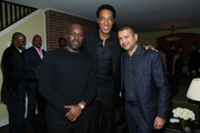 (L-R) Corey Gamble, Scottie Pippen, and Kamal Hotchandani attend the NBA All Star Dinner Honoring Scottie Pippen on February 15, 2018 in Bel Air, California.