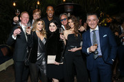 (L-R) Ron Newman, Steele Cooper, Larsa Pippen, Scottie Pippen, Bahar Koushan, Mohamed Hadid, Shiva Safai, and Anthony Koushan attend the NBA All Star Dinner Honoring Scottie Pippen on February 15, 2018 in Bel Air, California.