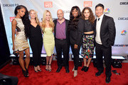 """(L-R) Actresses Yaya DaCosta, Melissa Dennis, Julie Marie Berman, Dr. Andrew Dennis, Marlyne Barrett, Rachel DiPillo and Brian Tee attend a premiere party for NBC's 'Chicago Fire', 'Chicago P.D.' and 'Chicago Med' at STK Chicago on November 9, 2015 in Chicago, Illinois. NBC has renewed popular dramas """"Chicago Fire"""" and """"Chicago P.D."""" for the 2016-17 season. """"Chicago Fire"""" will be entering its fifth season while """"Chicago P.D."""" will begin its fourth season."""
