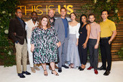 "(L-R) Ron Cephas Jones, Sterling K. Brown, Chrissy Metz, Chris Sullivan, Justin Hartley, Mandy Moore, Susan Kelechi Watson, Michael Angarano, and Milo Ventimiglia attend NBC's ""This Is Us"" Pancakes with the Pearsons at 1 Hotel West Hollywood on August 10, 2019 in West Hollywood, California."