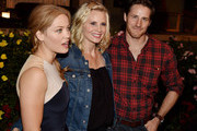 """(L-R) Erika Christensen, Monica Potter and Sam Jaeger pose at NBC's """"Parenthood"""" 100th episode cake-cutting ceremony at Universal Studios on November 7, 2014 in Universal City, California."""