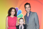(L-R) Minnie Driver, Benjamin Stockham and David Walton attend the 2014 NBC Upfront Presentation at The Jacob K. Javits Convention Center on May 12, 2014 in New York City.