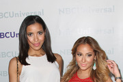 TV Personalities Julissa Bermudez and Adrienne Bailon arrive at the NBCUniversal summer press day held at The Langham Huntington Hotel and Spa on April 18, 2012 in Pasadena, California.