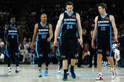 Cedric Jackson, CJ Bruton, Dillon Boucher and Tom Abercrombie of the Breakers during game one of the NBL Grand Final series between the New Zealand Breakers and the Perth Wildcats at Vector Arena on April 7, 2013 in Auckland, New Zealand.