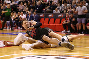 David Andersen of the Hawks collides with Chris Goulding of United during the round one NBL match between the Illawarra Hawks and Melbourne United at Wollongong Entertainment Centre on October 12, 2018 in Wollongong, Australia.