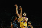 Mika Vukona of the Breakers defends with Corey Webster of the Breakers against Julian Khazzouh of the Kings during the round 10 NBL match between the New Zealand Breakers and the Sydney Kings at Vector Arena on December 11, 2015 in Auckland, New Zealand.