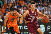 Travis Trice of the Bullets drives to the basket past  Jarrad Weeks of the Taipans during the round 13 NBL match between the Cairns Taipans and the Brisbane Bullets at the Cairns Convention Centre on January 5, 2018 in Cairns, Austra