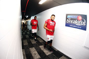 Demitrius Conger and Delvon Johnson of the Hawks walk back to the dressing room after a warm up session prior to the round 19 NBL match between the New Zealand Breakers and the Illawarra Hawks at North Shore Events Centre on February 16, 2018 in Auckland, New Zealand.