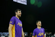 Andrew Bogut and Kevin Lisch of the Kings during warm up prior to the round two NBL match between the New Zealand Breakers and the Sydney Kings at Spark Arena on October 21, 2018 in Auckland, New Zealand.