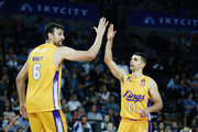 Kevin Lisch and Andrew Bogut of the Kings celebrate during the round two NBL match between the New Zealand Breakers and the Sydney Kings at Spark Arena on October 21, 2018 in Auckland, New Zealand.
