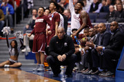 Head coach Mike Davis of the Texas Southern Tigers reacts in the first half against the North Carolina Central Eagles during the First Four of the 2018 NCAA Men's Basketball Tournament at UD Arena on March 14, 2018 in Dayton, Ohio.