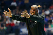 Head coach Mike Davis of the Texas Southern Tigers reacts against the Xavier Musketeers during the game in the first round of the 2018 NCAA Men's Basketball Tournament at Bridgestone Arena on March 16, 2018 in Nashville, Tennessee.