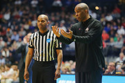 Head coach Mike Davis of the Texas Southern Tigers argues with a referee against the Xavier Musketeers during the game in the first round of the 2018 NCAA Men's Basketball Tournament at Bridgestone Arena on March 16, 2018 in Nashville, Tennessee.