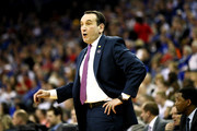Head coach Mike Krzyzewski of the Duke Blue Devils reacts against the Syracuse Orange during the first half in the 2018 NCAA Men's Basketball Tournament Midwest Regional at CenturyLink Center on March 23, 2018 in Omaha, Nebraska.