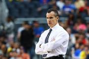 Head coach Billy Donovan of the Florida Gators looks on against the Michigan Wolverines in the first half during the South Regional Round Final of the 2013 NCAA Men's Basketball Tournament at Dallas Cowboys Stadium on March 31, 2013 in Arlington, Texas.