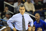 Head coach Billy Donovan of the Florida Gators watches his team during their game against the Brigham Young Cougars in the Southeast regional of the 2011 NCAA men's basketball tournament at New Orleans Arena on March 24, 2011 in New Orleans, Louisiana.