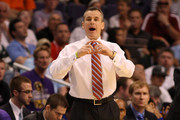 Head coach Billy Donovan of the Florida Gators reacts while taking on the Marquette Golden Eagles during the 2012 NCAA Men's Basketball West Regional Semifinal game at US Airways Center on March 22, 2012 in Phoenix, Arizona.