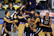 The Villanova Wildcats celebrate defeating the North Carolina Tar Heels 77-74 to win the 2016 NCAA Men's Final Four National Championship game at NRG Stadium on April 4, 2016 in Houston, Texas.