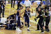 Phil Booth #5 of the Villanova Wildcats celebrates with teammates after defeat the North Carolina Tar Heels 77-74 in the 2016 NCAA Men's Final Four National Championship game at NRG Stadium on April 4, 2016 in Houston, Texas.